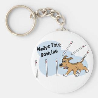 Funny Weave Poles Dog Agility Keychain