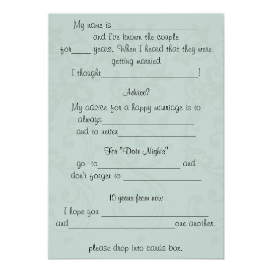 Funny Wedding Advice Comment Card