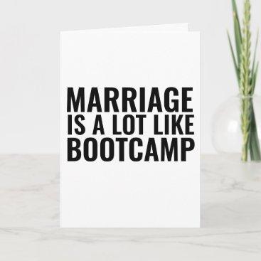 FUNNY WEDDING CONGRATULATION CARD, BOOTCAMP CARD