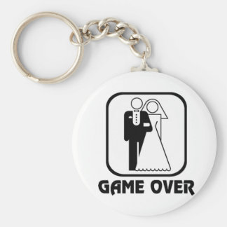 Funny wedding Game Over Basic Round Button Keychain