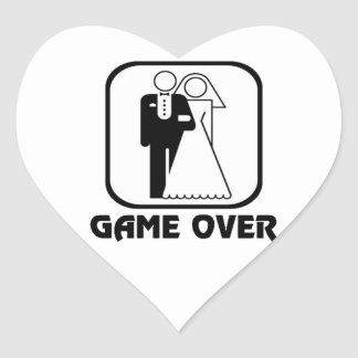 Funny wedding Game Over Heart Sticker