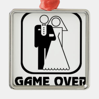 Funny wedding Game Over Metal Ornament