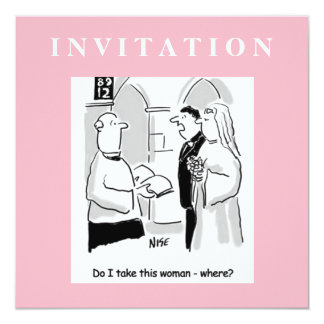 Funny Wedding Invitation. Groom and Vicar Card