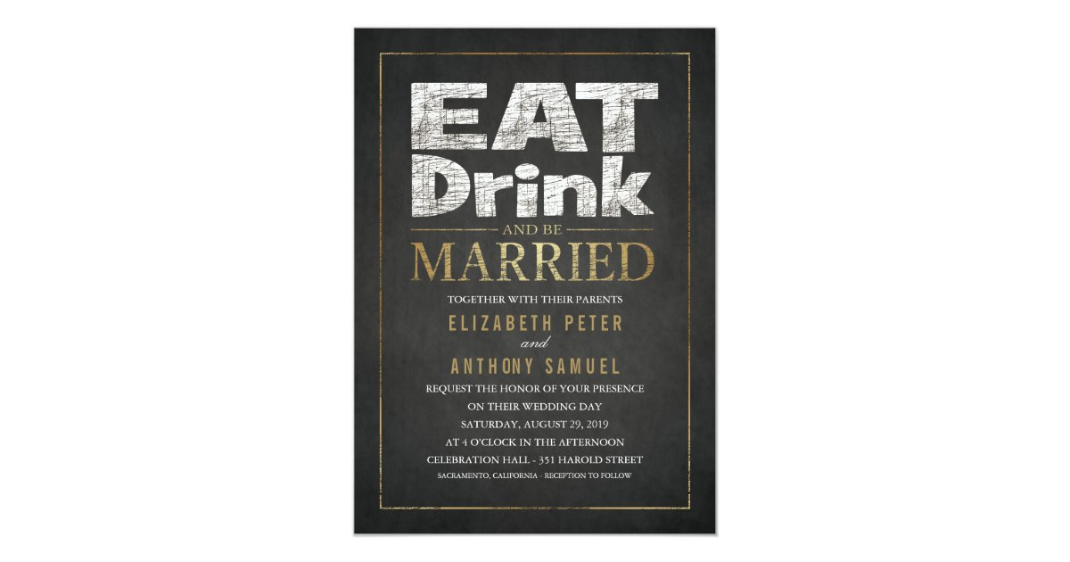 Funny Wedding Invitations Eat Drink Be Married Zazzle