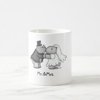 Funny Wedding Mug with a Hippo and Rhino