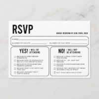 Funny Wedding Response RSVP Enclosure Card