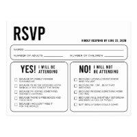 Funny Wedding Response RSVP Postcard