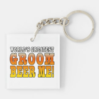 Funny Weddings Parties : Worlds Greatest Groom Double-Sided Square Acrylic Keychain