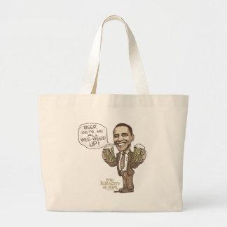 Funny Wee Weed Up Obama Beer Gear Large Tote Bag