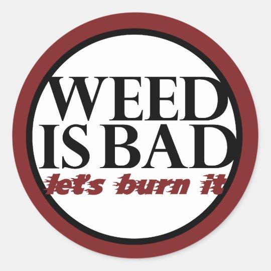 Funny Weed Parody Classic Round Sticker