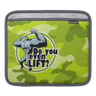 Funny Weight Lifter; bright green camo, camouflage iPad Sleeve