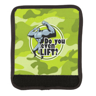Funny Weight Lifter; bright green camo, camouflage Luggage Handle Wrap