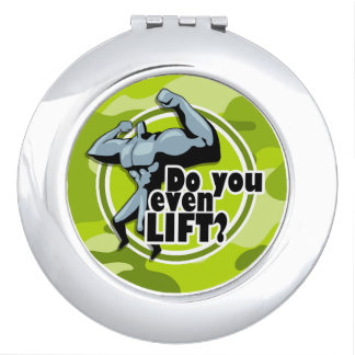 Funny Weight Lifter; bright green camo, camouflage Vanity Mirrors