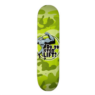 Funny Weight Lifter; bright green camo, camouflage Skateboard Deck