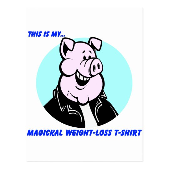 funny weight loss pig cartoon gift postcard
