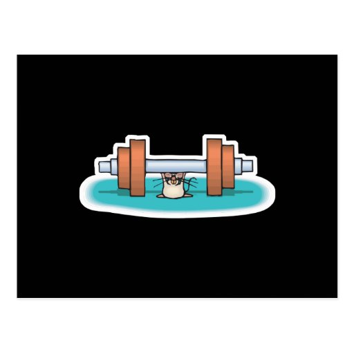 funny weightlifting mouse postcard