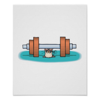 funny weightlifting mouse posters