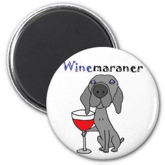 Funny Weimaraner Dog Drinking Red Wine 2 Inch Round Magnet