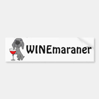 Funny Weimaraner Dog Drinking Red Wine Bumper Sticker