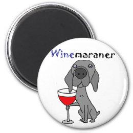 Funny Weimaraner Dog Drinking Red Wine Magnet
