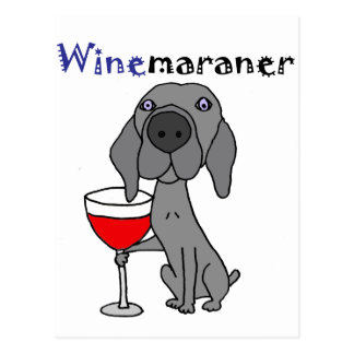 Funny Weimaraner Dog Drinking Red Wine Postcard
