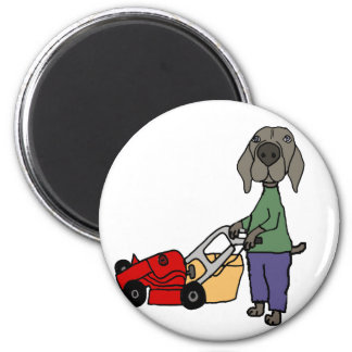 Funny Weimaraner Dog Mowing Lawn Art Magnet
