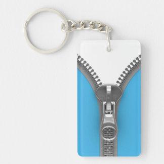 Funny Weird Realistic Blue Zipper Keychain