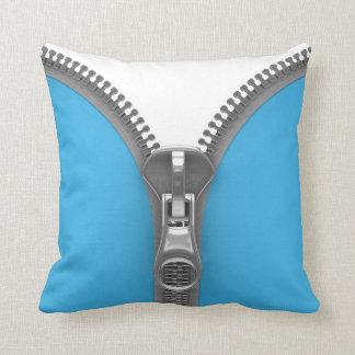 Funny Weird Realistic Blue Zipper Pillow
