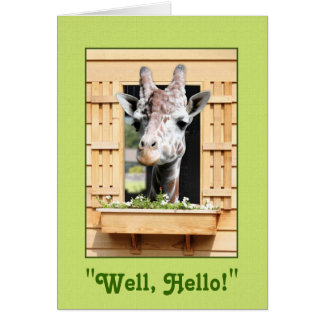 Funny Well Hello Giraffe Greeting Card