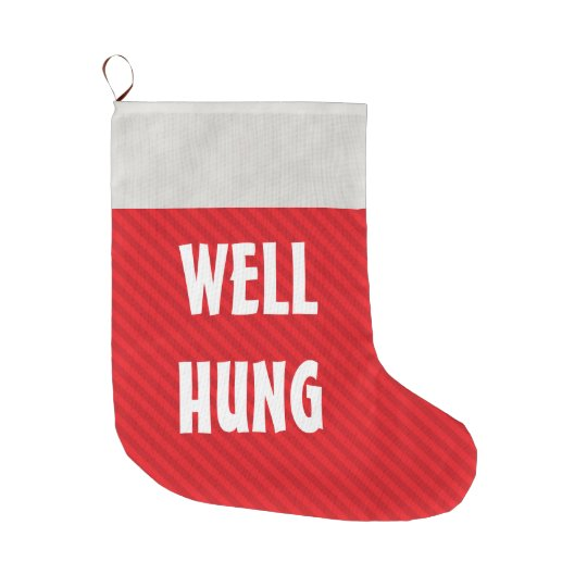 funny well hung red stripe large christmas stocking - Funny Christmas Stockings