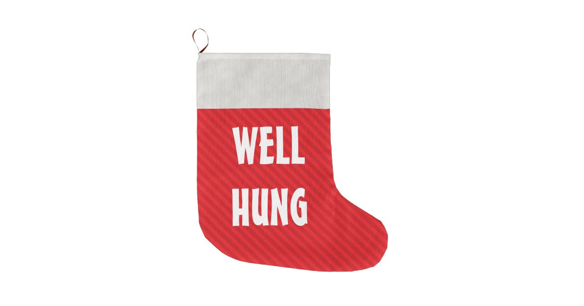 funny well hung red stripe large christmas stocking zazzlecom - Large Christmas Stockings
