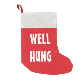Funny Well Hung Red Stripe Small Christmas Stocking