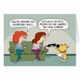 Funny Well-trained, Wine-serving Dog Birthday Card at Zazzle