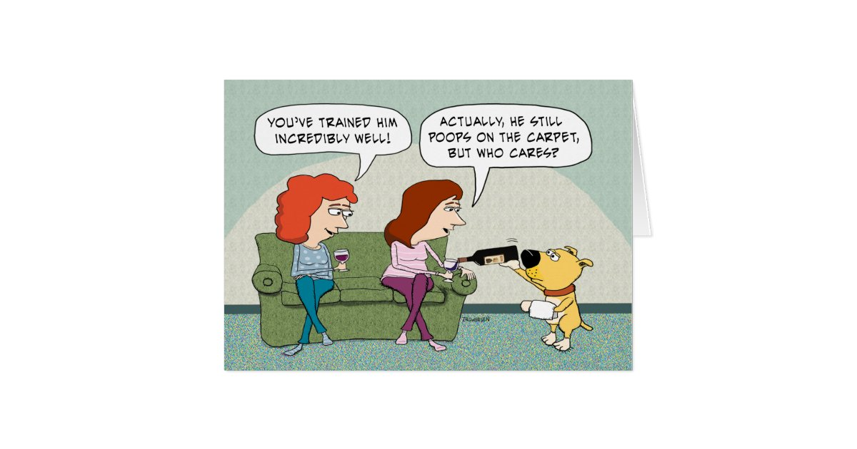 Funny Well-Trained, Wine-Serving Dog Birthday Card   Zazzle.com