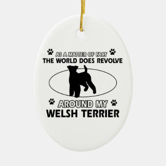 Funny welsh terrier designs ceramic ornament