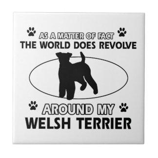 Funny welsh terrier designs tile