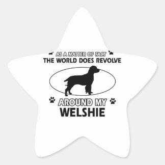 Funny welshie designs star sticker