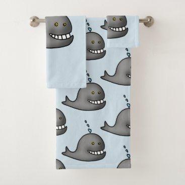 Beach Themed funny whale bath towel set