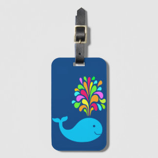 Funny whale luggage tag