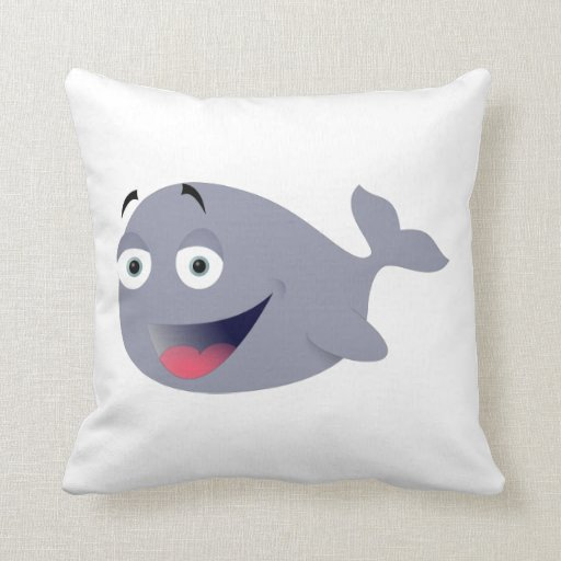 Funny Whale Throw Pillows
