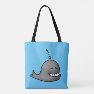 Funny whale tote bag