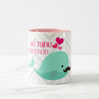 Funny Whale with Mustache Be Mine Valentine Custom Two-Tone Coffee Mug