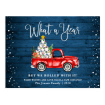 Funny What a Year 2020 Christmas Red Farm Truck Postcard