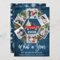 Funny What a Year 2020 Christmas Red Truck 6 PHOTO Holiday Card