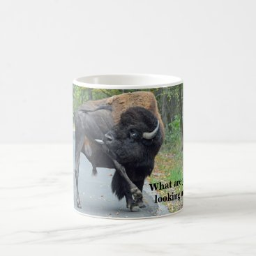 Professional Business Funny What Are You Looking At? Busy Bull Bison Coffee Mug