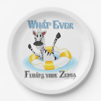 Funny Whatever Floats your Zebra Paper Plate