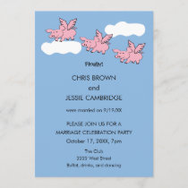 Funny when pigs fly finally married invitation