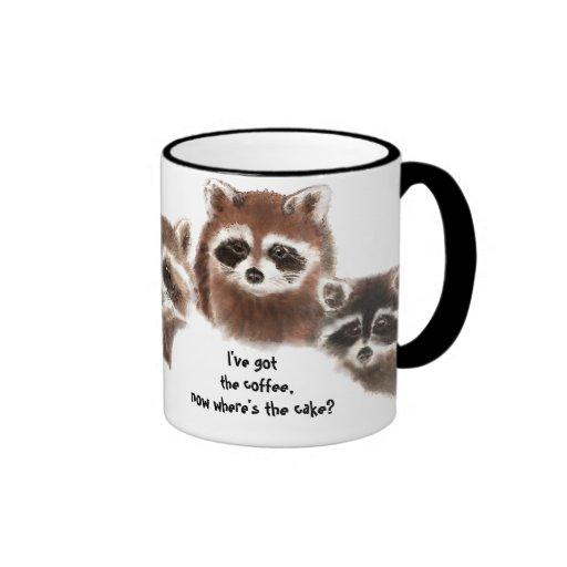 Funny, Where's the Cake, Raccoon Mug, Animal