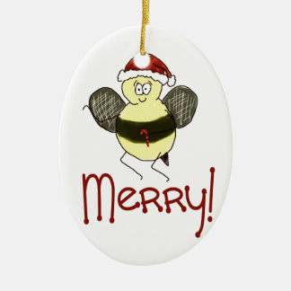 Funny Whimsical Bee Merry Christmas Holiday Ceramic Ornament