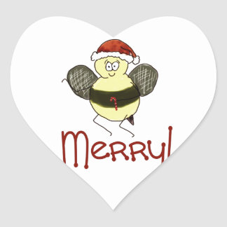 Funny Whimsical Bee Merry Christmas Holiday Heart Sticker